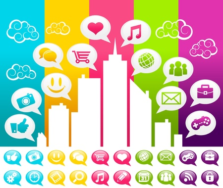 Vector colorful city with social media speech bubble icons