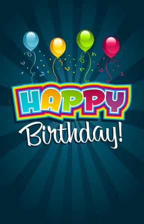 party: Vector happy birthday greeting card
