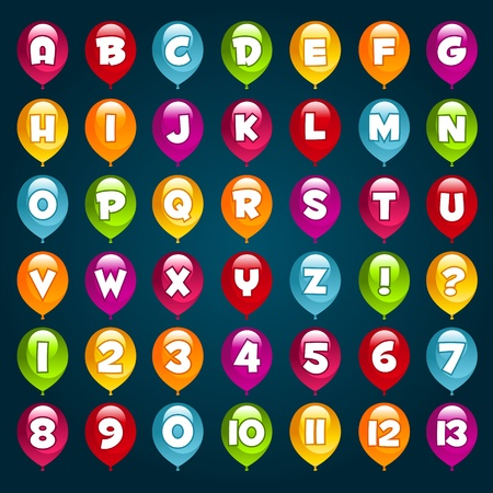 alphabet kids: Vector set of alphabet and numbers with party birthday balloons
