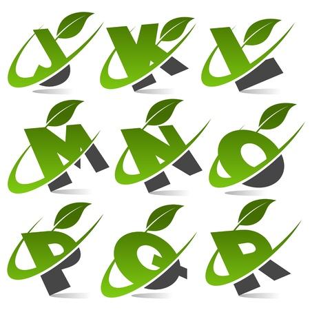 Swoosh Green Alphabet with Leaf Icon Set 2 Vector
