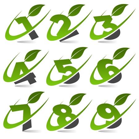 sept: Swoosh chiffres verts avec feuilles Ic�ne Set 4 Illustration