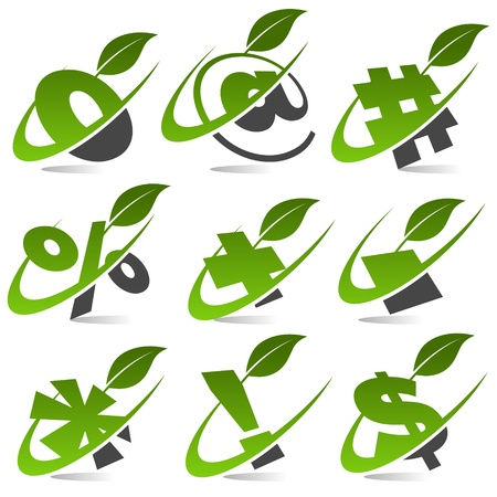 percentage sign: Swoosh Green Symbols with Leaf Icon Set 5