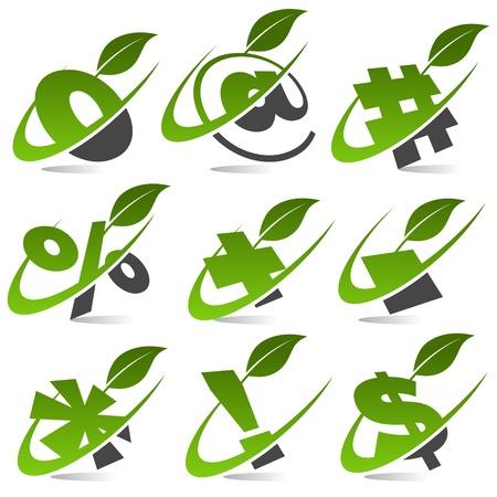 Swoosh símbolos verdes con hoja Icon Set 5