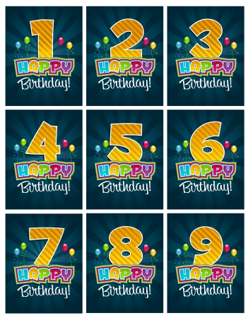 four in one: Happy Birthday Numbers Illustration