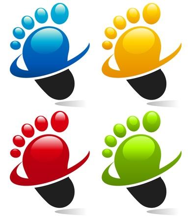 Icônes de pied Swoosh Vecteurs
