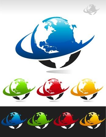 Swoosh Planet Earth Icons Illustration