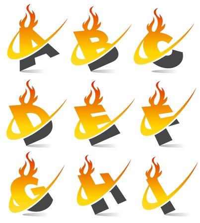 lettre de feu: Alphabet flamme Swoosh Set 1