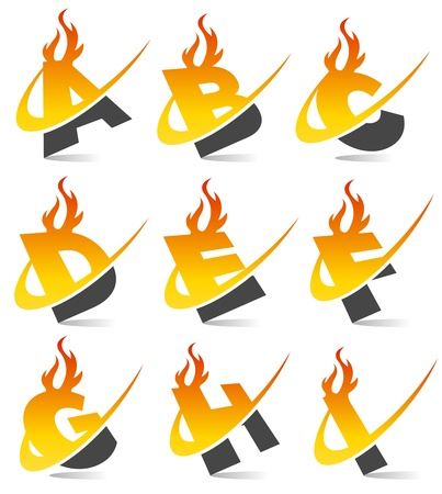 fire font: Swoosh Flame Alphabet Set 1
