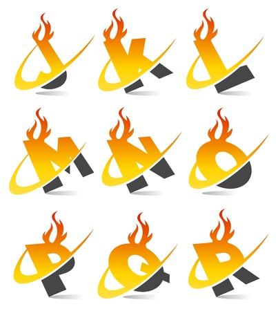 lettre de feu: Alphabet flamme Swoosh Set 2