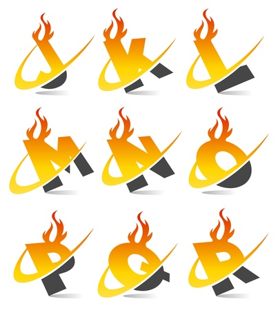 fire font: Swoosh Flame Alphabet Set 2
