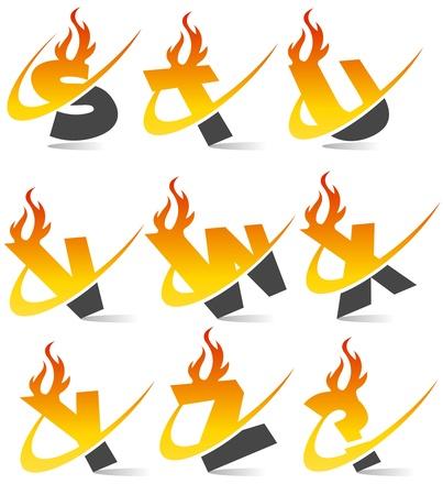 fiery font: Swoosh Flamme Alphabet Illustration