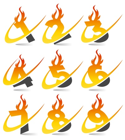 fire font: Swoosh Flame Numbers Illustration