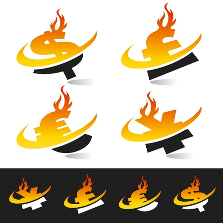 cash: Swoosh flame currency symbols  Illustration