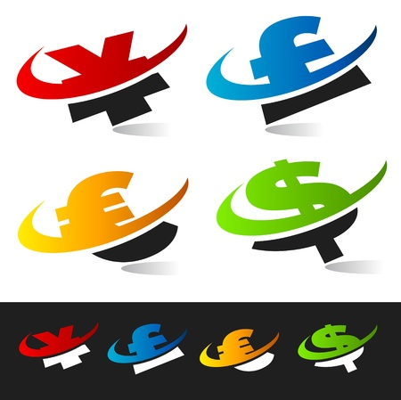 currency symbols: Set of swoosh currency symbols