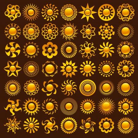 Collection de dessins vectoriels soleil colorés. Banque d'images - 14293967