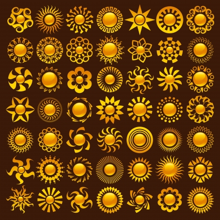 icon: Collection of vector colorful sun designs.