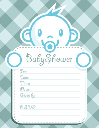 Vector baby shower invitation greeting card.