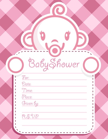 cute baby girls: Vector baby shower invitation greeting card.