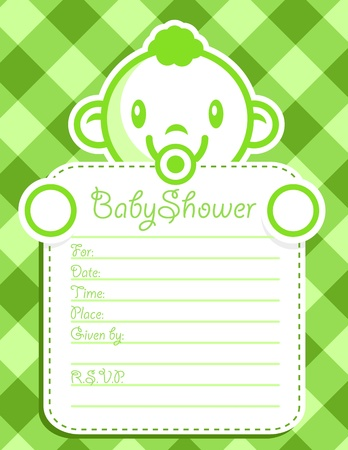 Vector baby shower invitation greeting card. Vector
