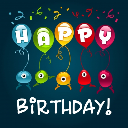 Vector birthday greeting card with colorful monsters and balloons. Stock Vector - 14293949