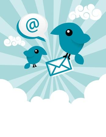 tweet balloon: Vector illustration of blue birds sharing emails. Illustration