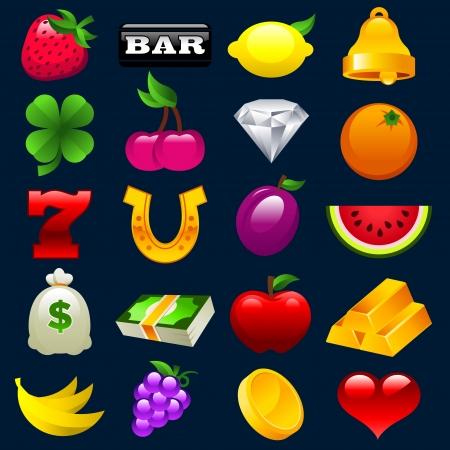 slots: Conjunto de vectores iconos de colores de las m�quinas tragamonedas