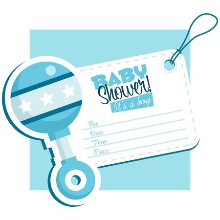 rammelaar: Blauwe baby rammelaar uitnodigingskaarten
