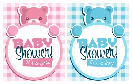 cute baby girls: Baby bear invitation cards  Illustration