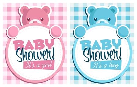 baby shower girl: Baby bear invitation cards  Illustration