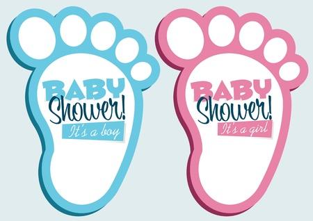 invitacion baby shower: Los pies del bebé tarjetas de invitación Vectores
