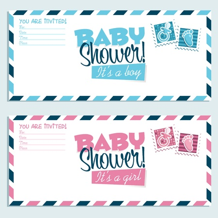 cute baby girls: Baby shower invitation envelopes  Illustration