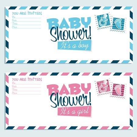 shower b�b�: Enveloppes d'invitation de douche de b�b� Illustration