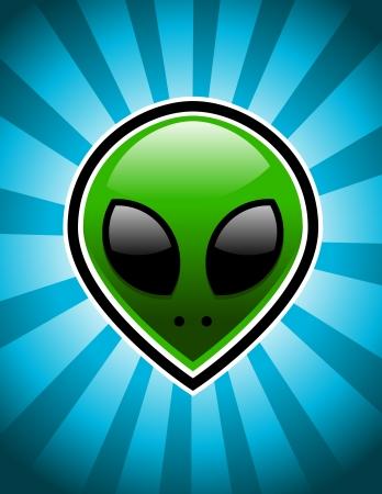 Green alien on blue bursting background