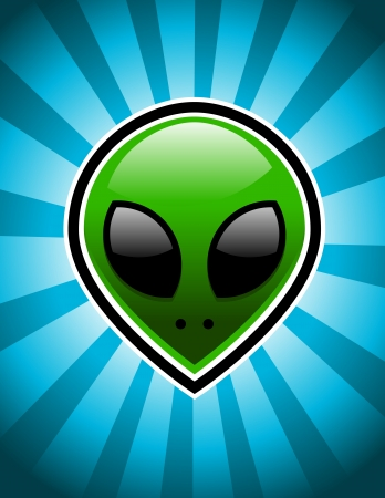 Green alien on blue bursting background  Vector