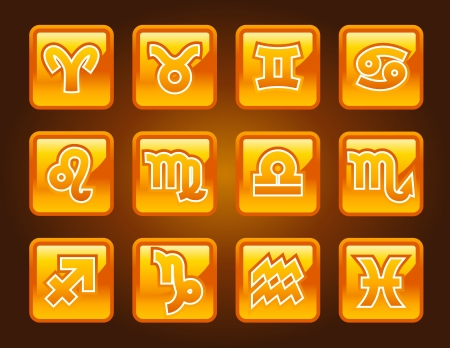signs of the zodiac: Gold zodiac icons  Illustration