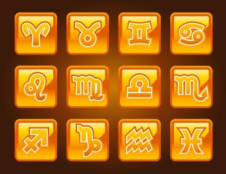 gold: Gold zodiac icons  Illustration