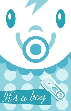 Blue Baby Boy Invitation Card Zdjęcie Seryjne - 15291708