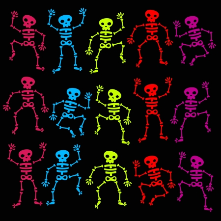 Vector set of colorful dancing skeletons