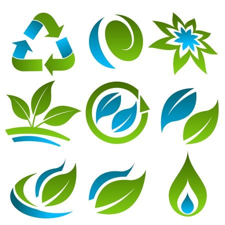 녹색 및 파랑 에너지 절약 아이콘 일러스트