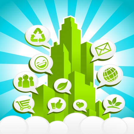 recycling: Vector Green city with Eco and recycling icons in speech bubbles