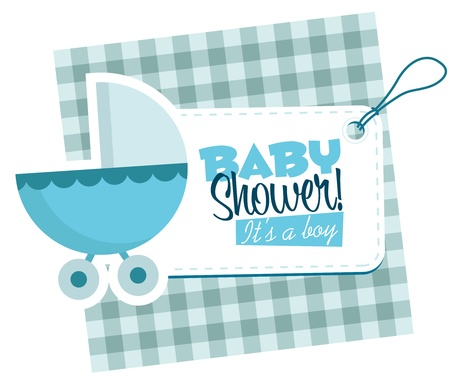 Baby boy stroller invitation card  Ilustrace
