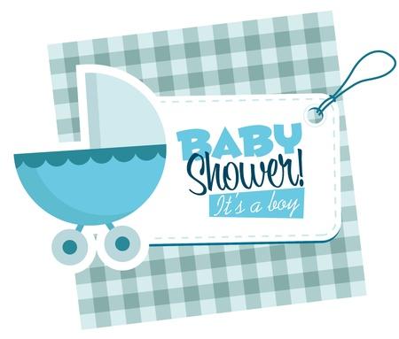 Baby boy stroller invitation card  Illustration