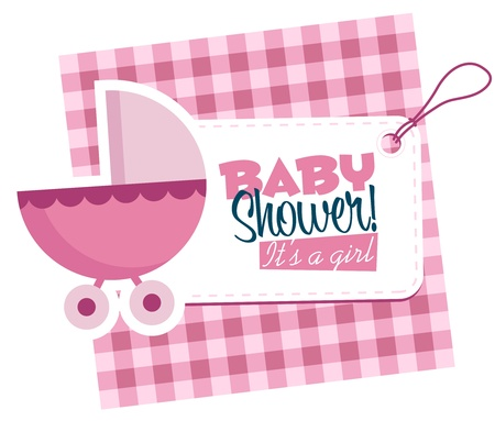 cute baby girls: Baby girl stroller invitation card  Illustration