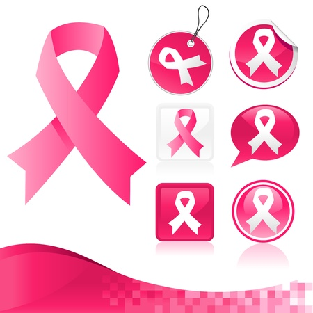 breast cancer: Vector kit of pink ribbons for breast cancer awareness