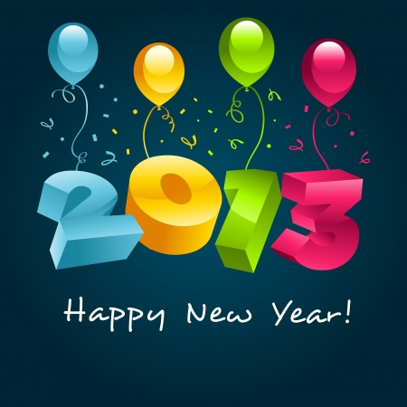 Happy New Year 2013 greeting card Stock Vector - 15291719