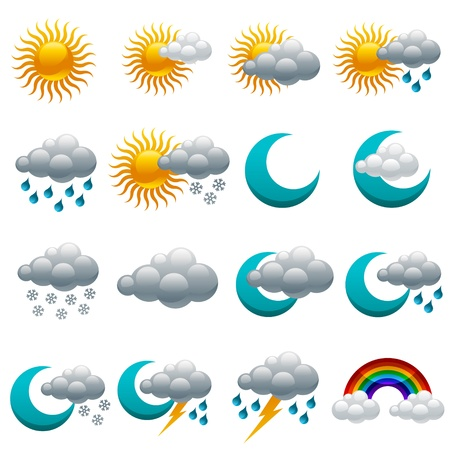 and windy: Vector set of colorful glossy weather icons