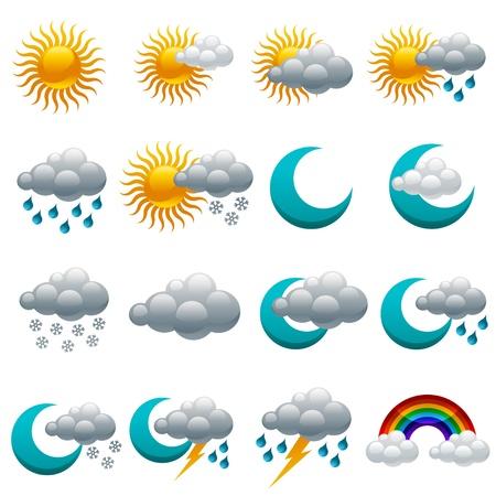 Vector set van kleurrijke glanzende weerpictogrammen Vector Illustratie