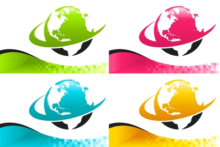 Vector set of colorful banners with swoosh earth icons  Vector