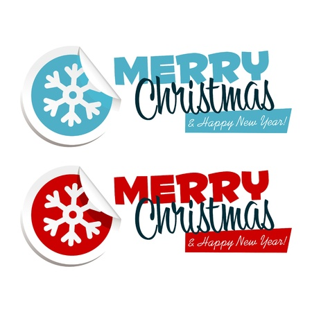 christmas celebration: Vector Merry Christmas text with snowflake stickers