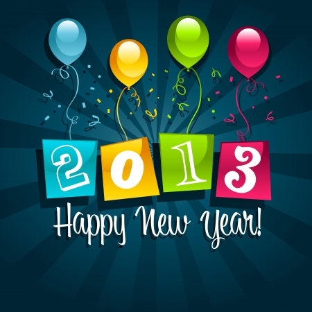 Vector colorful 2013 new year card with colorful party balloons